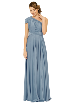 Po31 Wrapdress Dustyblue Front