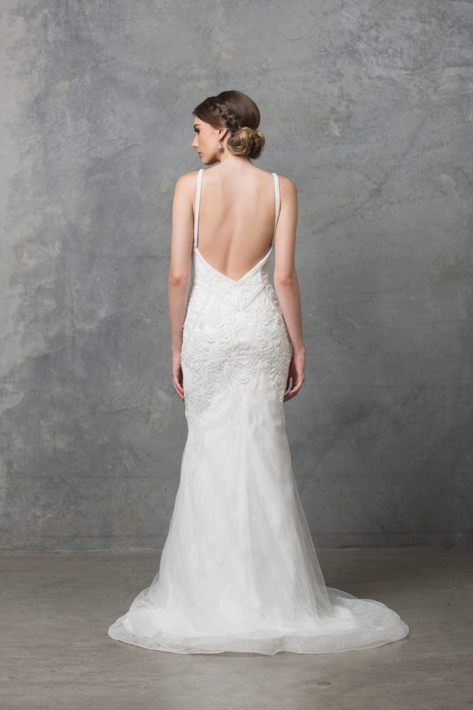 Adelia Beaded Wedding Dress TC226 Back