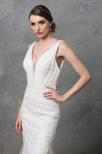 tc226 Adelia Beaded Wedding Dress TC226 Side Close Up