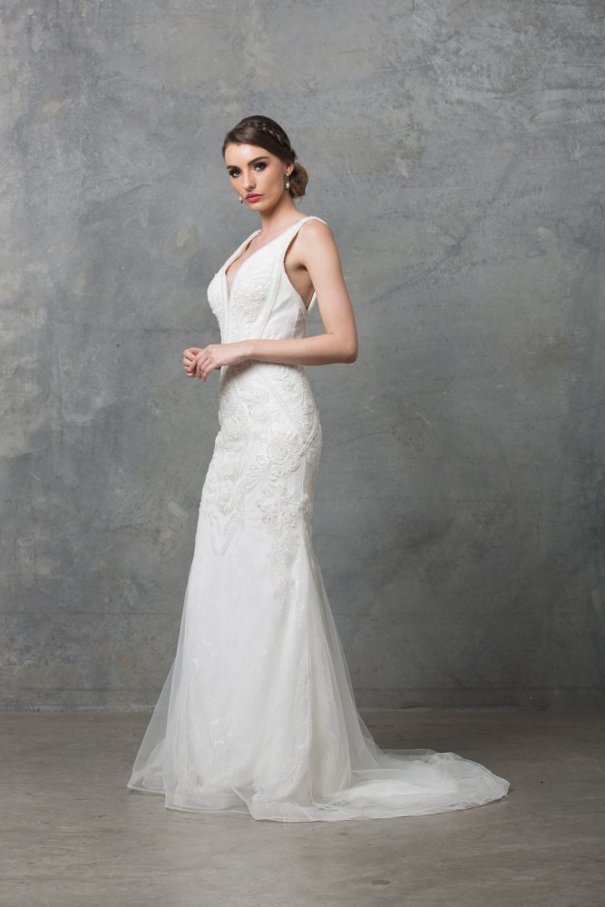 Adelia Beaded Wedding Dress TC226 Side