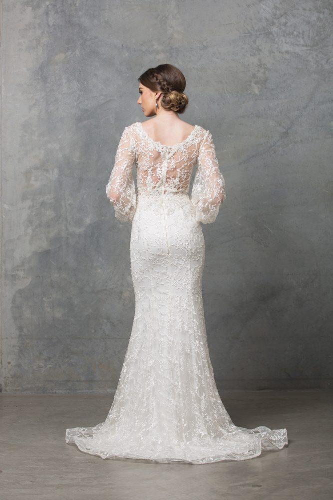 Catalina Long Sleeve Wedding Dress TC220 Ivory Back