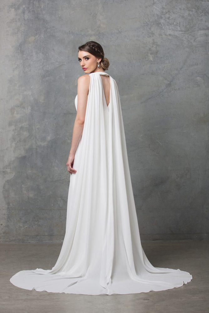 Chiarie Wedding Dress W Cape TC229 V White Back