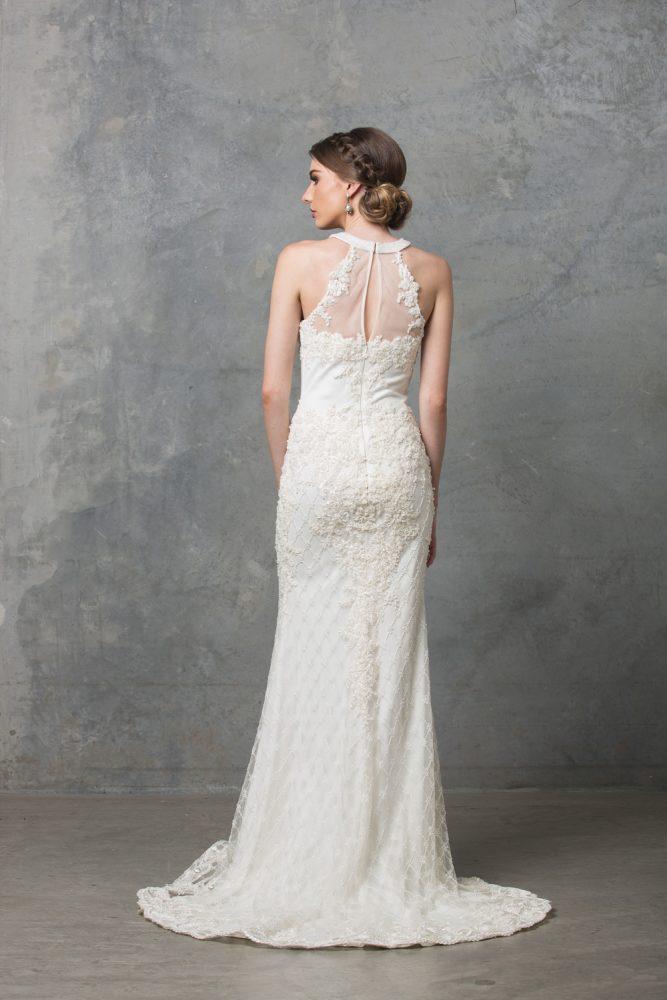 Clarissa Highneck Beaded Wedding Dress TC217 Ivory Back
