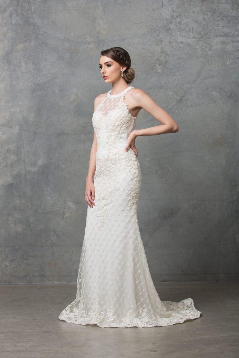 Clarissa Highneck Beaded Wedding Dress TC217 Ivory Side