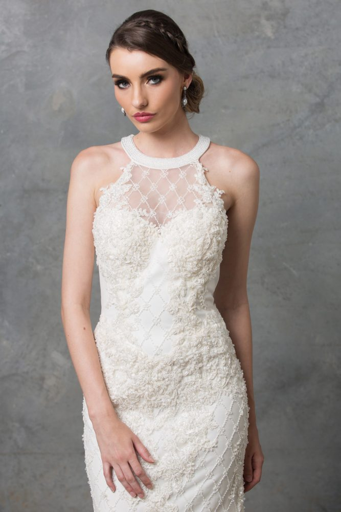Clarissa Highneck Beaded Wedding Dress TC217 Ivory