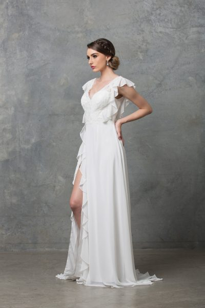 Clover boho wedding dress TC227 V white side