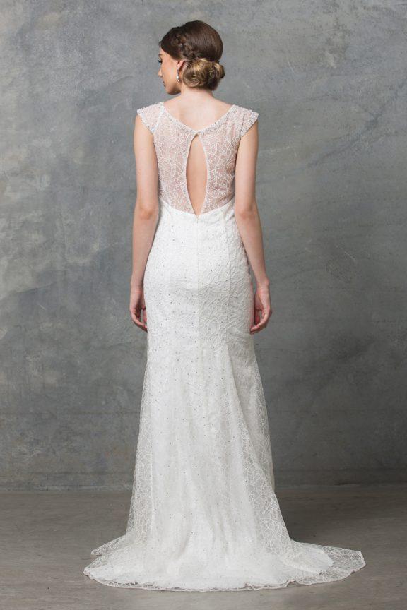 Kalisi wedding dress TC012 V white back 1