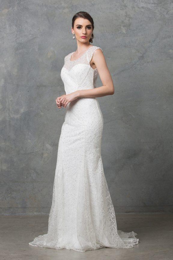 Kalisi wedding dress TC012 V white side 1