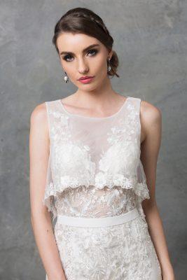 Lilith Wedding Dress TC222 V White Close Up
