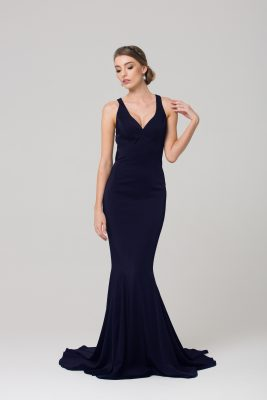 PO585 MAKENA FORMAL DRESS NAVY FRONT
