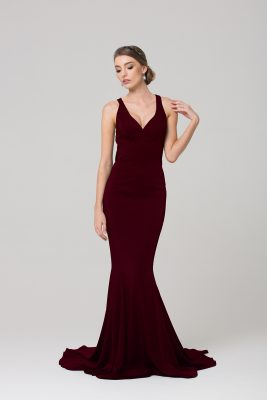 PO585 MAKENA FORMAL DRESS WINE FRONT