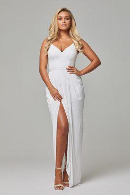 TO801 Vintage white Claire dress split
