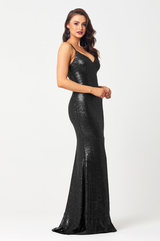 PO594 India sequin formal dress black