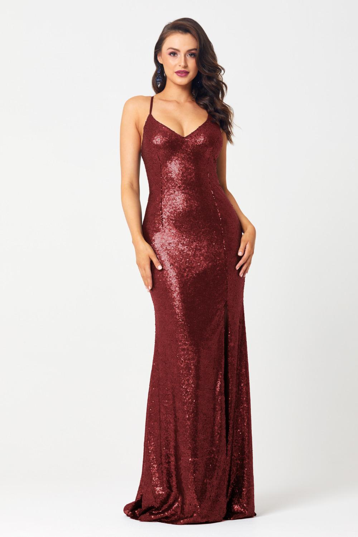 PO594 India sequin formal dress cherry