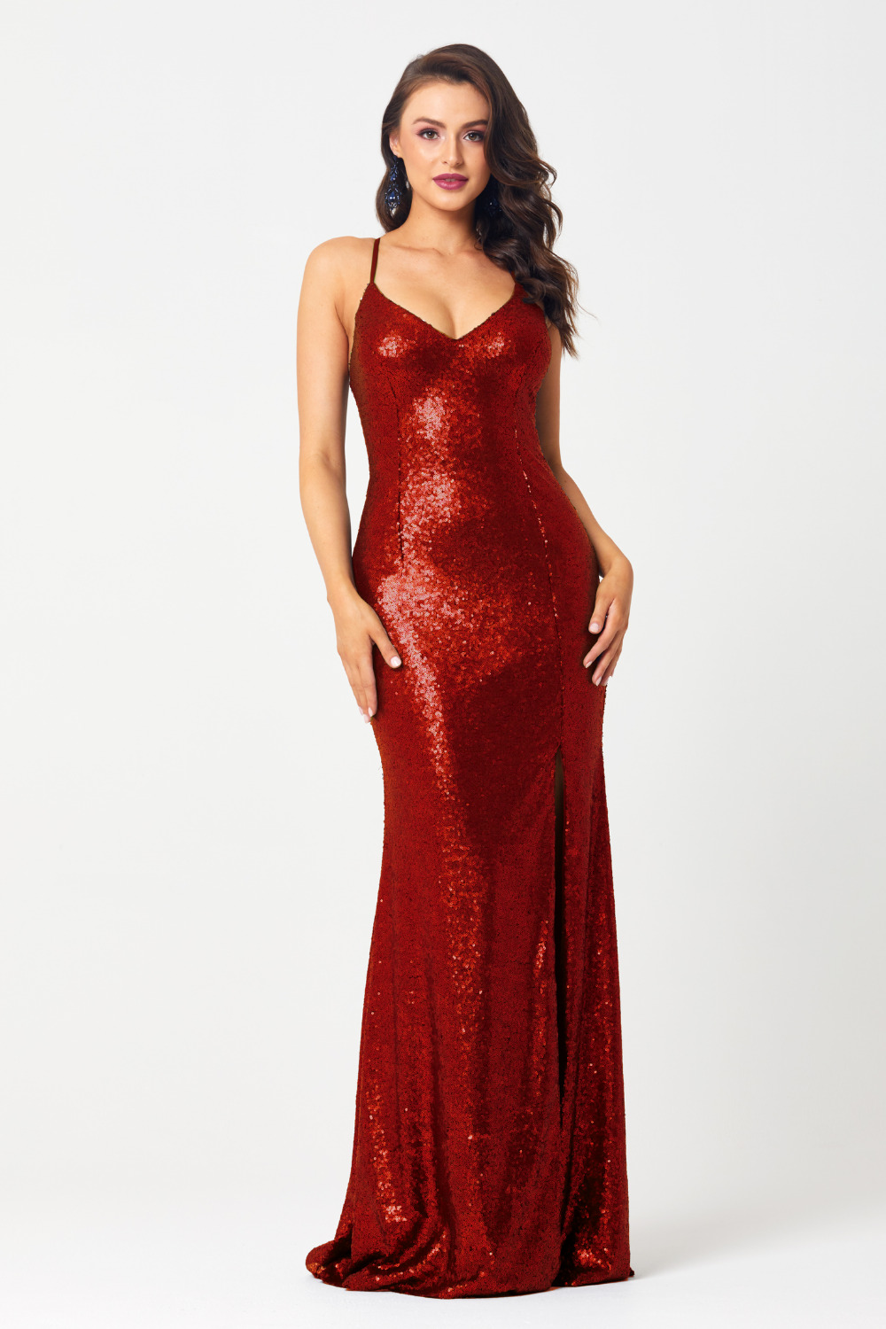 PO594 India sequin formal dress red