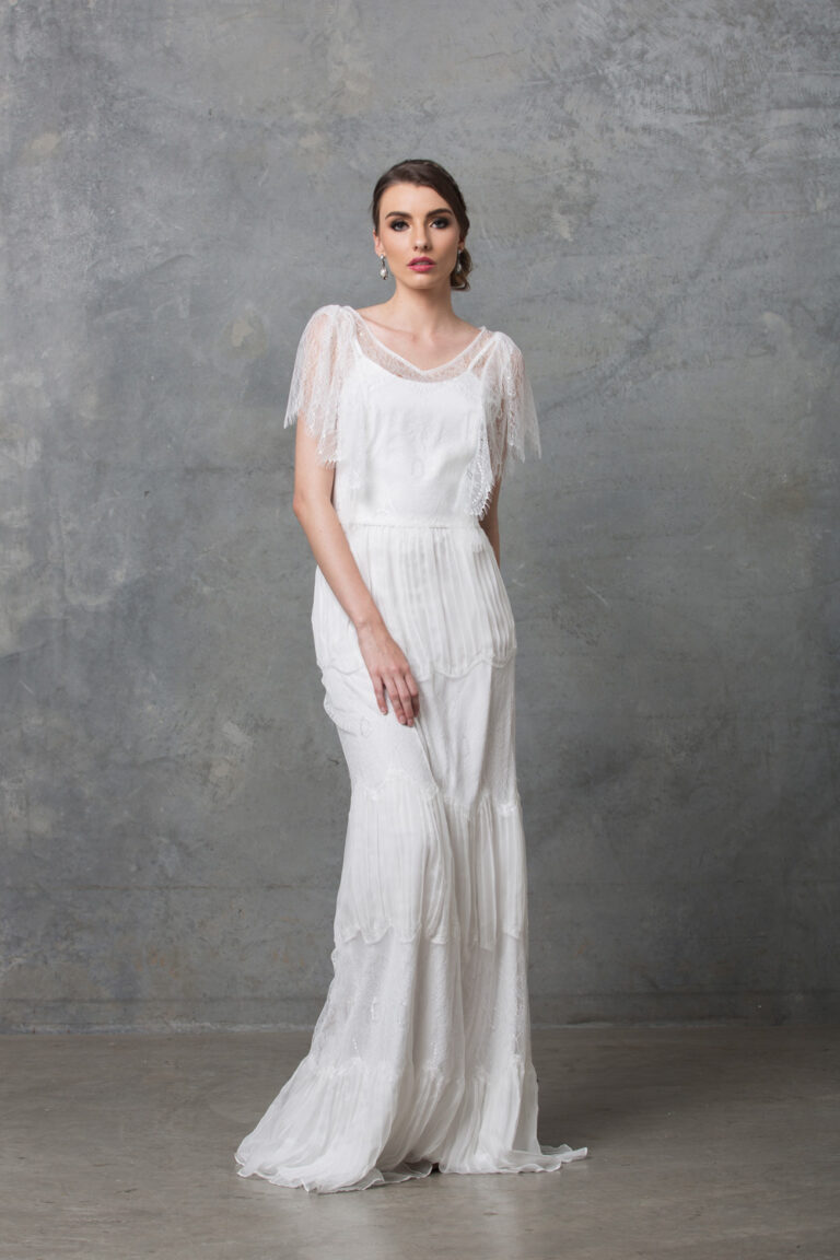 Clara boho wedding dess TO58 V white