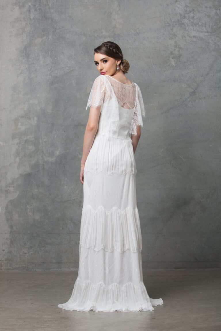 Clara boho wedding dress TO58 V white back