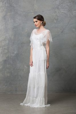 Clara boho wedding dress TO58 V white side