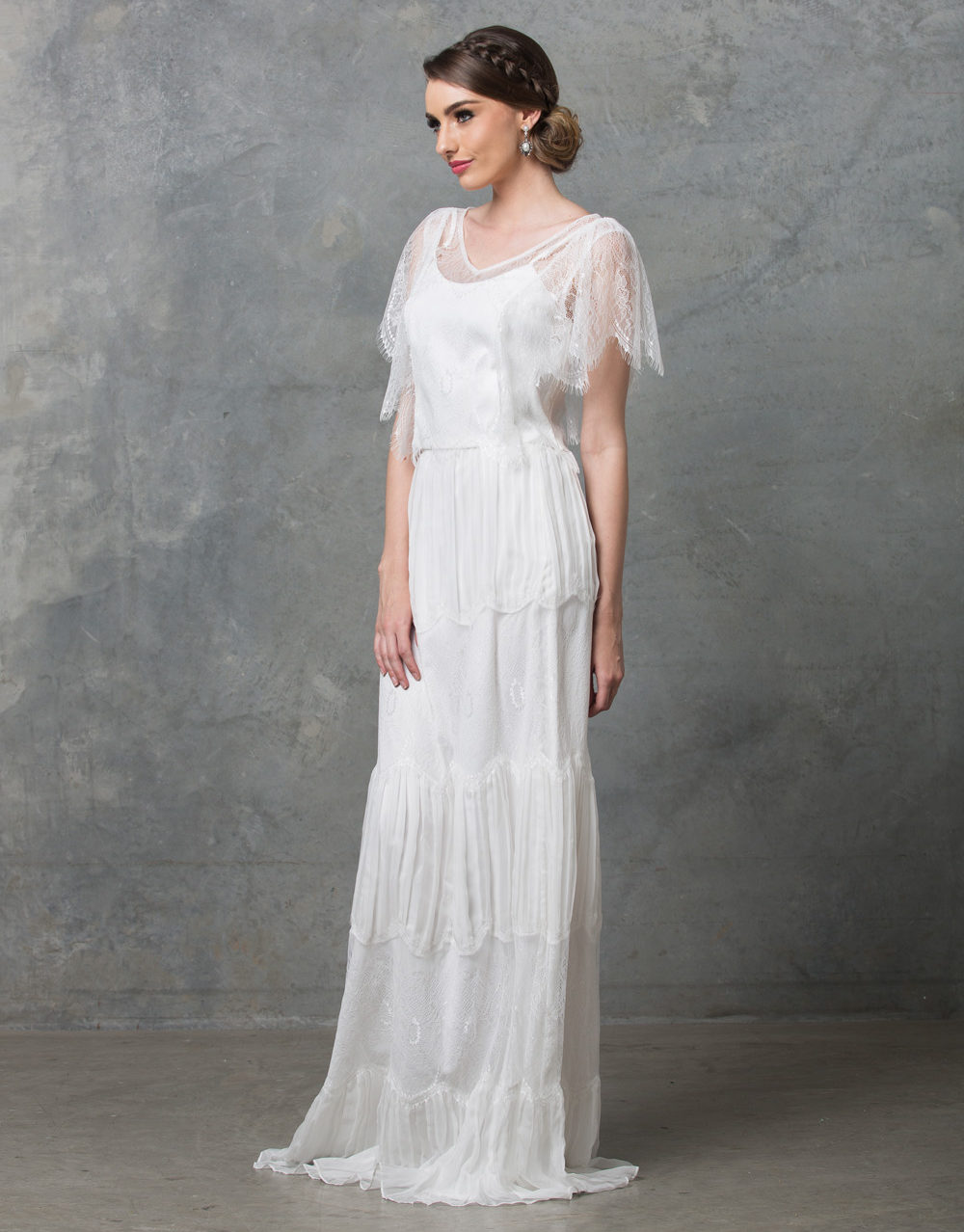 Clara boho wedding dress TO58 V white side