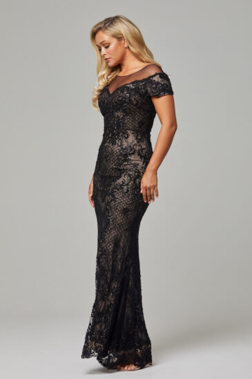 TC228 Black Nude Evie dress side