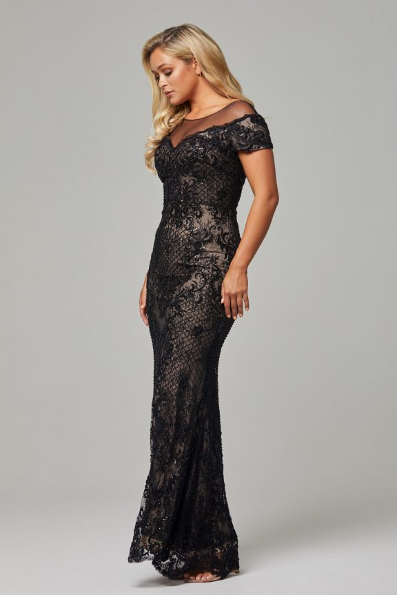 TC228 Black Nude Evie dress side