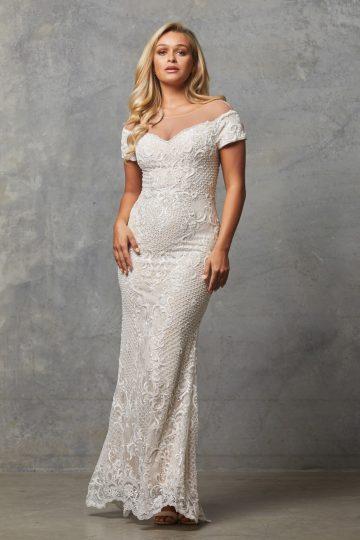 TC228 Vintage white nude Evie dress
