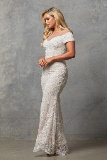 TC228 Vintage white nude Evie dress side