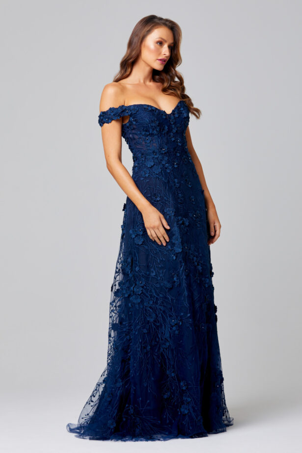 Poppy Evening Dress Navy Side TC249