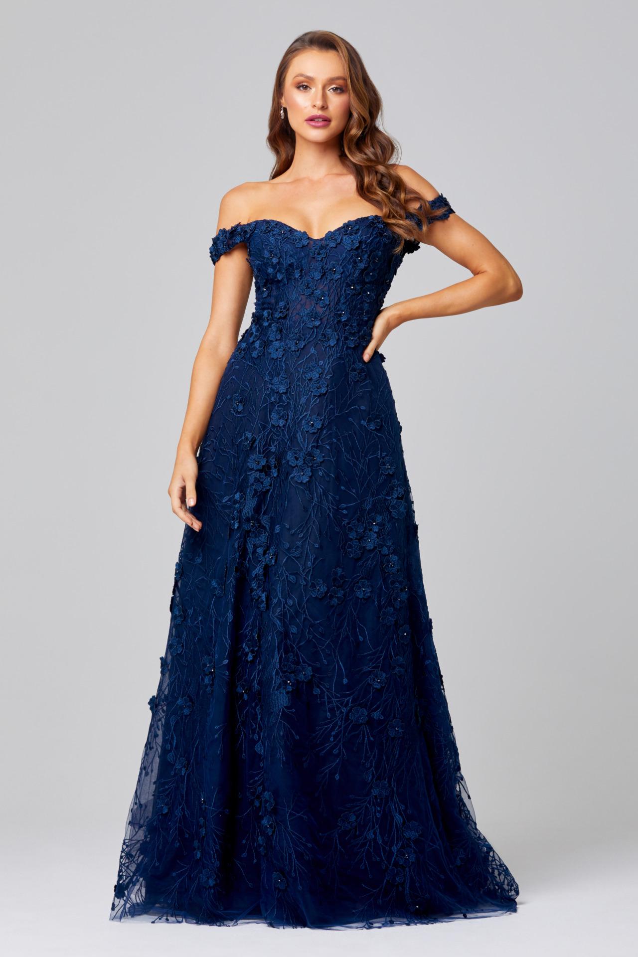Poppy Evening Dress Navy TC249