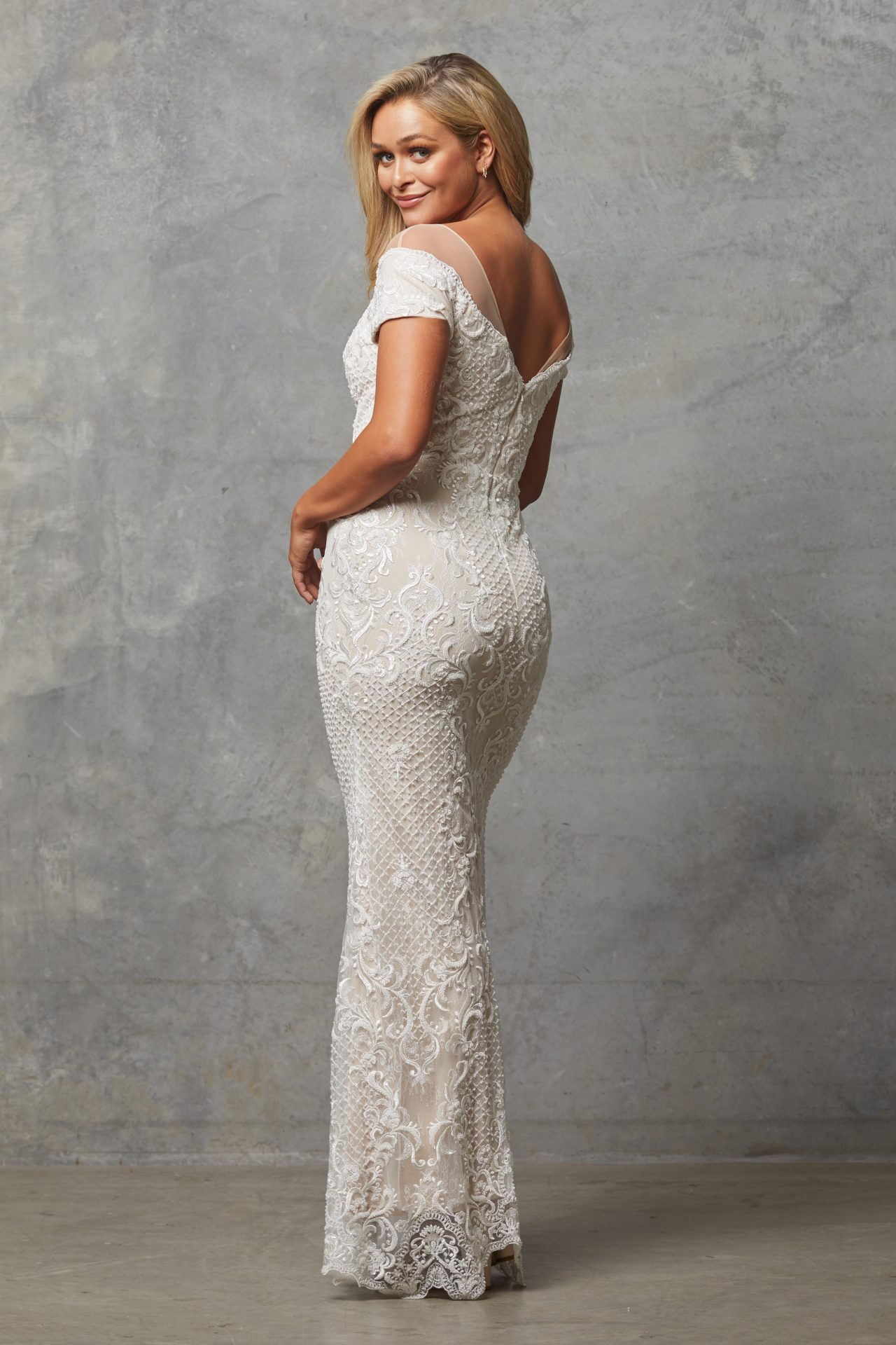TC228 Vintage white nude Evie dress back 1