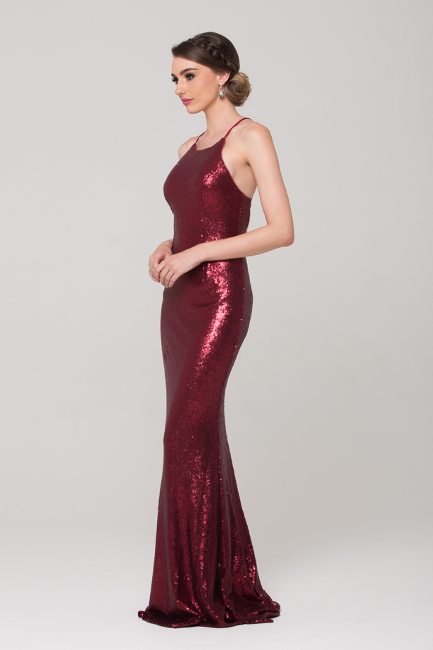 PO70 sadie sequin formal dress red