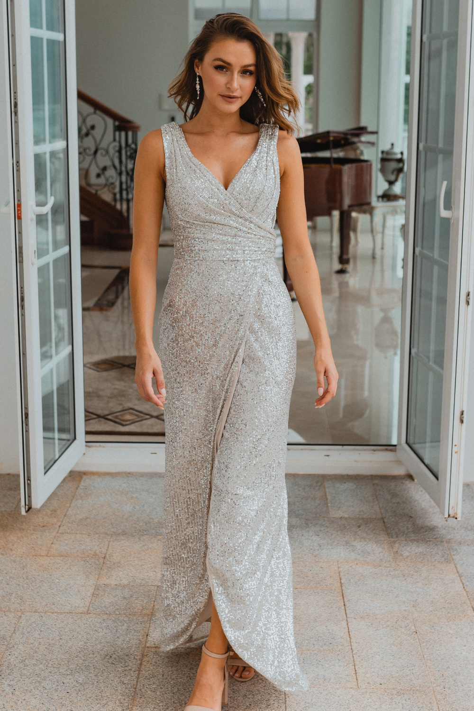 TO857 Alexandria bridesmaid dress silver front