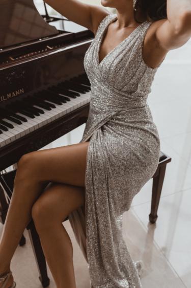 TO857 Alexandria silver bridesmaid dress