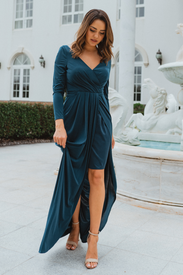 TO870 Nancy bridesmaid dress teal front