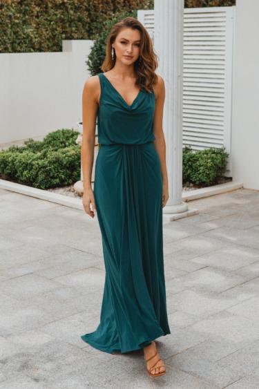 TO871 Novara pine bridesmaid dress front